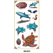 Temporary Tattoo 3D Underwater World Shark Fish Turtle Hippocampus 3D-031