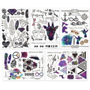 Hakuna 5 Sheets Temporary Tattoo Stickers - Over 100+ Cool Fake Tattoo Designs in Black and Vivid Colours. Type