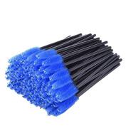 Flyusa 100 Pcs Disposable Mascara Wands Eyelash Applicator Eyebrow Brush Makeup Applicators Kit,Blue