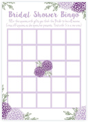 Purple Floral Bridal Shower Bingo Game Cards