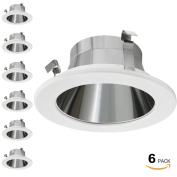 6 Pack 10cm Light Trim with Aluminium Reflector White Metal Step Baffle, for 10cm Recessed Can, Fit Halo/Juno Remodel Recessed Housing, Line Voltage Available