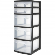Case of 2, 5 Drawer Durable Tower, Black/White
