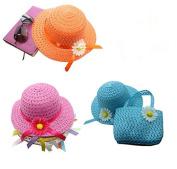 3 Girls Tea Party Sun Hat and Purse Sets. Includes 3 Purses & 3 Daisy Flower Sunhats(Blue Purple Orange)