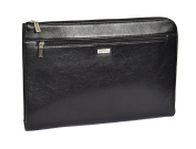 Genuine Leather Conference File Folder Folio Documents A4 Organiser Tablet Sleeve Underarm Bag HLG786 Black