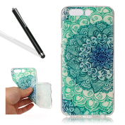 Huawei P10 Soft Case,Case Cover for Huawei P10,Leeook Pretty Cool Creative Green Jade Flower Painted Pattern Design Soft Flexible TPU Silicone Rubber Skin Bumper Cover Shock-Absorption Slim Fit Ultra Thin Stylish Protective Gel Case Cover for Huawei P1 ..