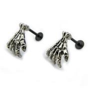 TraveT Skull Hand Bone Claw Stud Earrings for Men Women