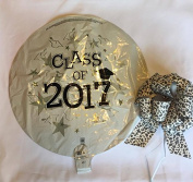 Class of 2017 Foil Balloon with 5.1cm Black Leopard Pull Bow