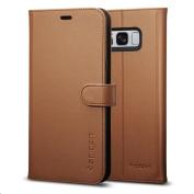 Spigen Galaxy S8 Premium Wallet Case- Coffee Brown,Convenience,Premium Quality, 3 Card slots + Cash