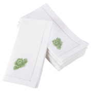 Fennco Styles Decorative Embroidered Design Hemstitched Border Cotton Napkin 50cm Square - Set of 4