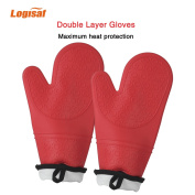 Logisaf Extra Long Silicone Oven Gloves Non-Slip Kitchen Oven Mitts Heat Resistant Cooking Gloves for Cooking, Baking, Barbecue Potholder(Red) 1 Pair