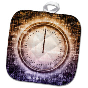 3dRose Sven Herkenrath Symbol - Colourful Abstract Design with A Clock Watches on the Front - 8x8 Potholder