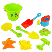 Set Of 9 Beach Bucket Spade and Rake Beach Toy Set for Kids Children Sandpit