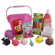 Bath Toys Storage Organiser for Girls Deluxe Gift Set with Original Mr Bubble Bath, Crayola Bath Tub Crayons, Mr Bubble Bath Crackles, Sesame Street Fizzy Tub Colours, Mega Bomb, and Squirter Toys