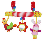 BabyPrice Plush Musical Stroller Toys Animals Crib Toys Trio Hook and loop
