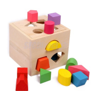 13 Wooden Block Sorter Box Baby Toddler Preschool Kids Colour Shape Learning Toy
