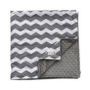 Grey wave Newborn Baby Bassinet Soft Swaddle Warm Blankets Stripe Polar Fleece Sleeping