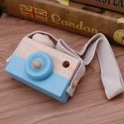 Blue Wooden Toy Camera Kids Creative Neck Hanging Rope Toy Photography Prop Gift