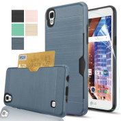 LG Tribute HD Case,LG X Style Case,LG Volt 3 Case With HD Screen Protector,AnoKe [Card Slots Holder][Not Wallet] Plastic TPU Hybrid Shockproof Heavy Duty Case For LS676 KC2 Metal Slate