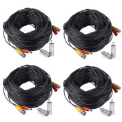 HISVISION 4 Pack 150ft/45m Video Power All-in-One BNC Security Camera Extension Cable Wire for CCTV DVR CCD Security Cameras Surveillance System with BNC to RCA Adaptor