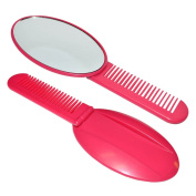 Girls Ladies Pink Foldable Hair Comb With Mirror - Party Bag Fillers / Christmas Stocking Fillers