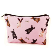 Mens Ladies Toiletry Bag Vanity case, make up, purse, pencil case, phone handbag, jewellery pouch NEW! French Bulldogs [009]