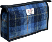 Vagabond Bags Harris Tweed Cheque Holdall Toiletry Bag, 24 cm, Mid Blue