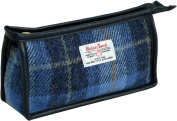 Vagabond Bags Harris Tweed Cheque Gusset Toiletry Bag, 20 cm, Mid Blue