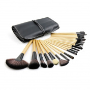 sourcingmap® 24pcs Wooden Pro Superior Soft Cosmetic Makeup Brush Set Brushes Kit w Faux Leather Case