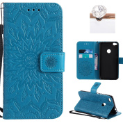 Huawei P8 Lite 2017 Cover, Felfy Flip Case for Huawei P8 Lite 2017, Stylish Woman and Cat Embossed Pretty Pattern Premium Leather Folio Flip Wallet Cover with Card Slot Magnet Closure Stand Shockproof Bumper Cover for Huawei P8 Lite 2017 + 1 Silver Sty ..