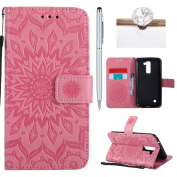 LG K10 Cover, Felfy Flip LG K10 Cover Case, LG K10 [Sunflower Embossing Pattern] Wallet Folio Premium Leather Cover with Stand Function and Wrist Strap Case, Flip Book Style Magnet Closure Pouch Protective Cover for LG K10 + 1 Silver Stylus Pen + 1 Dus ..