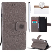 Sony Xperia XA Cover, Felfy Flip Sony Xperia XA Cover Case, Sony Xperia XA [Sunflower Embossing Pattern] Wallet Folio Premium Leather Cover with Stand Function and Wrist Strap Case, Flip Book Style Magnet Closure Pouch Protective Cover for Sony Xperia ..