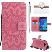 Galaxy J7(2016) Cover, Felfy Flip Galaxy J7(2016) Cover Case, Galaxy J7(2016) [Sunflower Embossing Pattern] Wallet Folio Premium Leather Cover with Stand Function and Wrist Strap Case, Flip Book Style Magnet Closure Pouch Protective Cover for Samsung G ..