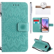 Galaxy S6 Cover, Felfy Flip Galaxy S6 Cover Case, Galaxy S6 [Sunflower Embossing Pattern] Wallet Folio Premium Leather Cover with Stand Function and Wrist Strap Case, Flip Book Style Magnet Closure Pouch Protective Cover for Samsung Galaxy S6 + 1 Silve ..