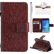 Galaxy J1(2016) Cover, Felfy Flip Galaxy J1(2016) Cover Case, Galaxy J1(2016) [Sunflower Embossing Pattern] Wallet Folio Premium Leather Cover with Stand Function and Wrist Strap Case, Flip Book Style Magnet Closure Pouch Protective Cover for Samsung G ..