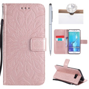 Galaxy S6 plus Cover, Felfy Flip Galaxy S6 plus Cover Case, Galaxy S6 plus [Sunflower Embossing Pattern] Wallet Folio Premium Leather Cover with Stand Function and Wrist Strap Case, Flip Book Style Magnet Closure Pouch Protective Cover for Samsung Gala ..