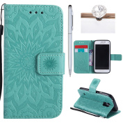 Galaxy S5 Mini Cover, Felfy Flip Galaxy S5 Mini Cover Case, Galaxy S5 Mini [Sunflower Embossing Pattern] Wallet Folio Premium Leather Cover with Stand Function and Wrist Strap Case, Flip Book Style Magnet Closure Pouch Protective Cover for Samsung Gala ..
