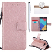 Galaxy A5(2016) Cover, Felfy Flip Galaxy A5(2016) Cover Case, Galaxy A5(2016) [Sunflower Embossing Pattern] Wallet Folio Premium Leather Cover with Stand Function and Wrist Strap Case, Flip Book Style Magnet Closure Pouch Protective Cover for Samsung G ..