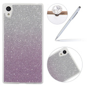 Sony Xperia XA Case, Wallet Flip Cover for Sony Xperia XA, Felfy Ultra Thin Soft Silicone TPU Gel Light Cover Case, Sand-Glitter Slim Flexible TPU Anti-Scratch Skin Protective Cover for Sony Xperia XA with A Silver Stylus and A Dust Plug.-Gradient Purple