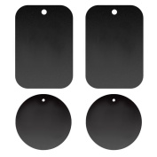 4Pcs Portable Replacement Metal Plate with Self-adhesive Feature for Magnetism Car Phone Mount Holder Rack Black