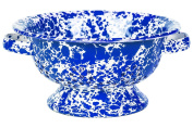 Crow Canyon - Enamelware Berry Colander - Blue on White Marble