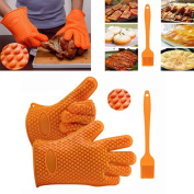 SANNYSIS Silicone Kitchen Cooking Silicone BBQ /Cooking Gloves Plus Silicone Brush Baking Tool