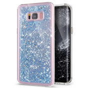 Galaxy S8 Case, Galaxy S8 Cover, Galaxy S8 Glitter Case,ikasus Luxury Glitter Bling Sparkle [Gold Foil] Flexible Soft Rubber Gel TPU Protective Skin Bumper Silicone Case Cover for Galaxy S8,Blue