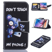 Galaxy S6 Case, Firefish Kickstand Synthetic Leather Flip Folio Wallet Scratch Resistant Shock Absorption Magnetic Clip Protect Cover for Samsung Galaxy S6 -Bear