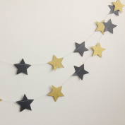 Paper Garland, MerryNine 3 Pack 9.1m Twinkle Star Garland Sparkling Gold Star Banner for Wedding, Bridal Showers, Birthday Party, Baby Shower, Event & Party Decor