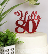 All About Details Red Hello 80! Cake Topper