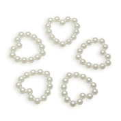 Heart Shape 100 Pcs 10mm White Flatback Faux Pearl Embellishments DIY Wedding Scrapbooking Card Craft Decorations