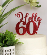All About Details Red Hello 60! Cake Topper