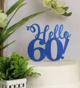 All About Details Blue Hello 60! Cake Topper