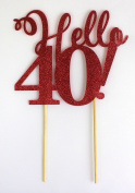 All About Details Red Hello 40! Cake Topper