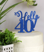 All About Details Blue Hello 40! Cake Topper